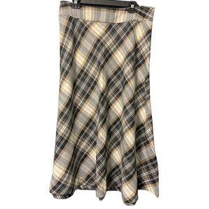 East 5th Skirt Plaid Maxi Black White Brown Sz 16